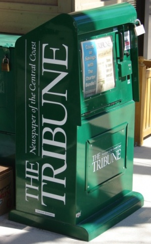 The familiar corner Tribune newspaper stand may be a thing of the past. -- Photo by Daniel Blackburn
