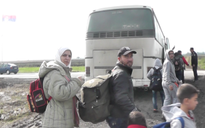Refugees on the border between Serbia and Croatia