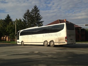 A bus with refugees in Tovarnik, Croatia