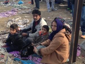 Refugee family on the Greek-Macedonian border