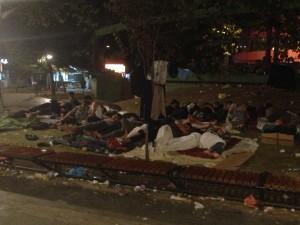 Refugees sleeping in Belgrade
