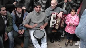 A refugee drum circle in Belgrade
