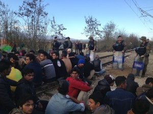 Macedonian police guard the border outside Idomeni, Greece