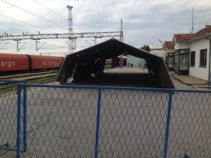 A temporary shelter for refugees in Sid, Serbia
