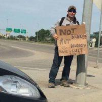 A Regina police officer posing as a panhandler.