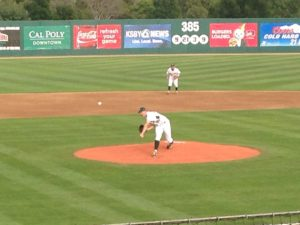 Imhof pitching for Cal Poly