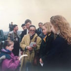 Emina Bicakcic reading a poem to Hillary Clinton in 1998 in Tuzla, Bosnia.