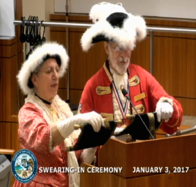 A pair of town criers welcomed the new board of supervisors Tuesday.