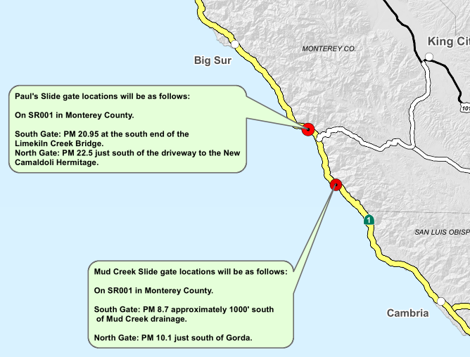 Highway 1 closed north of San Simon because of incoming storm
